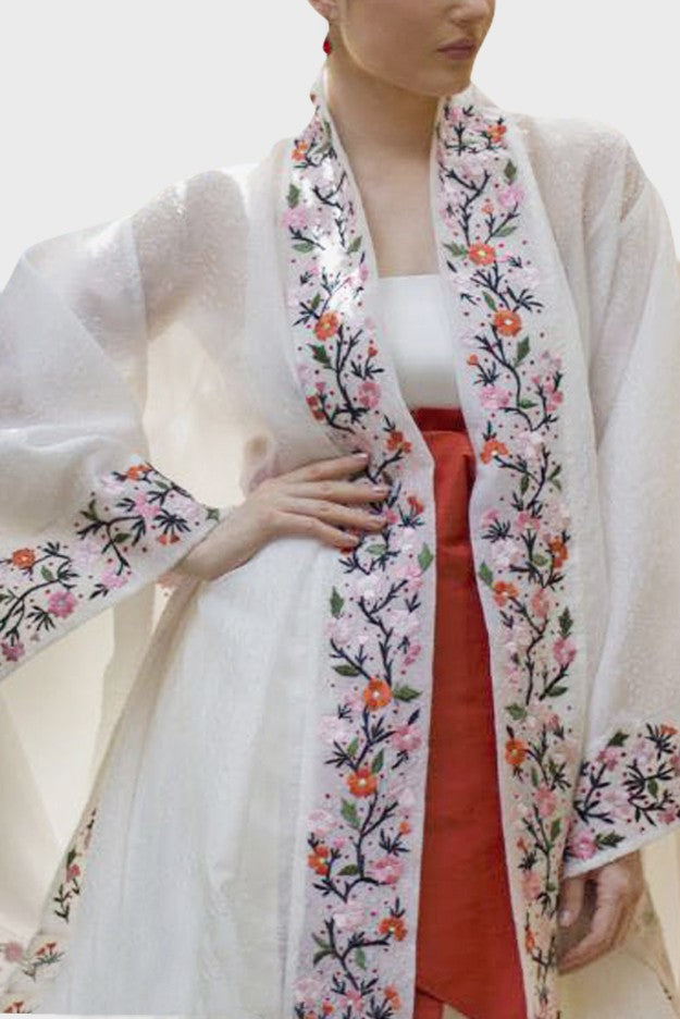 White Floral Kaftan ( 2 pieces)