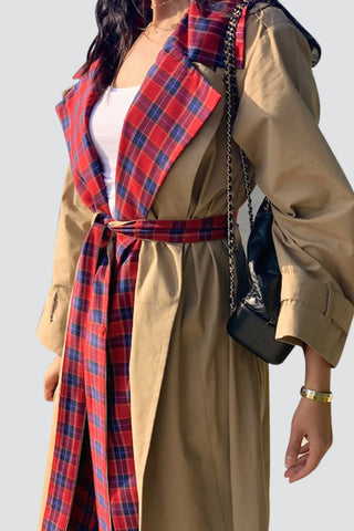 Checkered Collar Trenchcoat