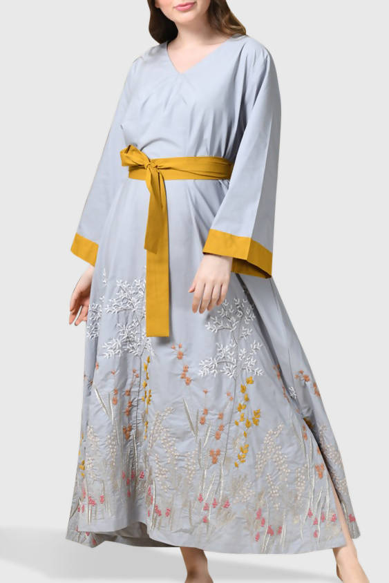 Gray - Yellow Kaftan