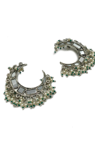 Silver Moon with Pearls Earrings