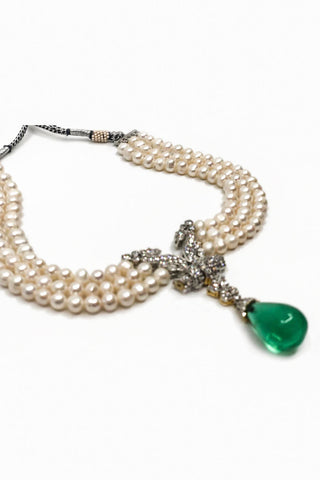 Green Drop Choker Pearl Necklace