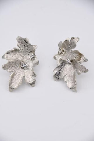 Leaf Earrings with Crystals