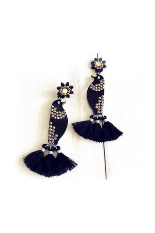Exaggerated Black Bird Earrings