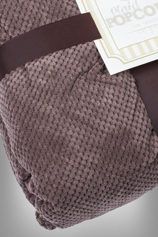 Brown Popcorn Plaid Throw Blanket