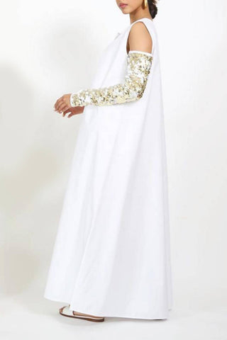 White Sequins Sleeves Kaftan