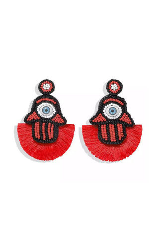 Red Eye Caf Drop Earrings