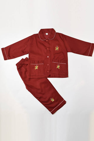 Maroon Butterfly Pajama Set
