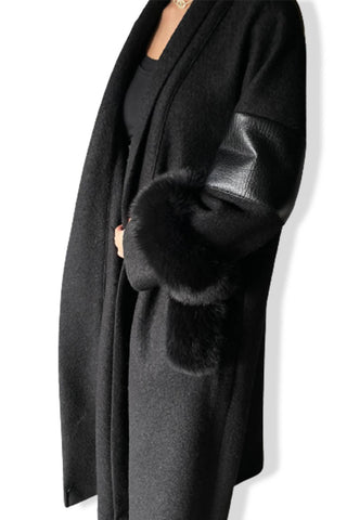 Black Fur/Leather Bisht