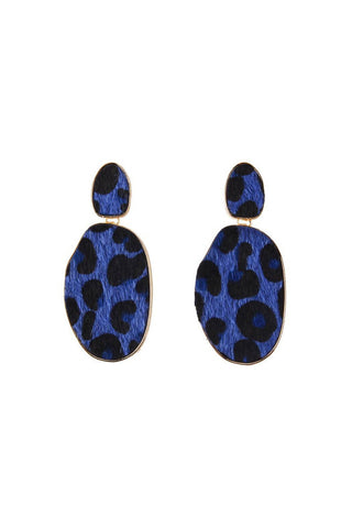 Blue Leopard Earrings
