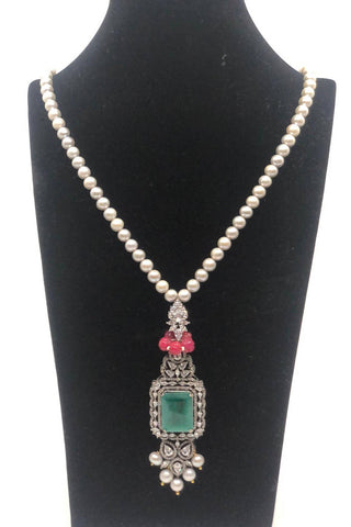 Grey Pearl Long Necklace with Green Stone
