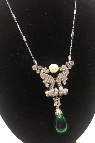 Green Stone Antique Long Necklace