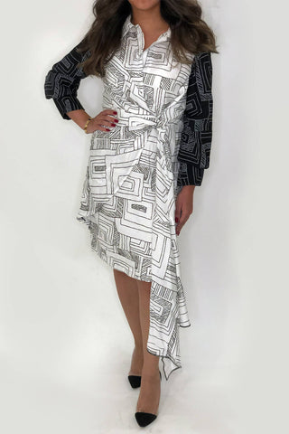 Printed Black and White Dress