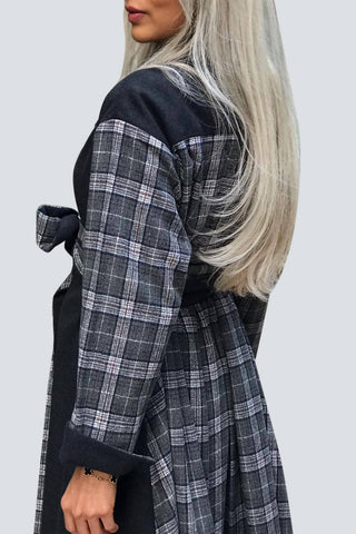 Plaid Grey & Black Coat
