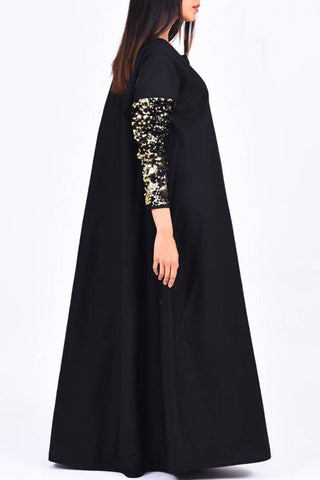 Black Sequins Sleeves Kaftan
