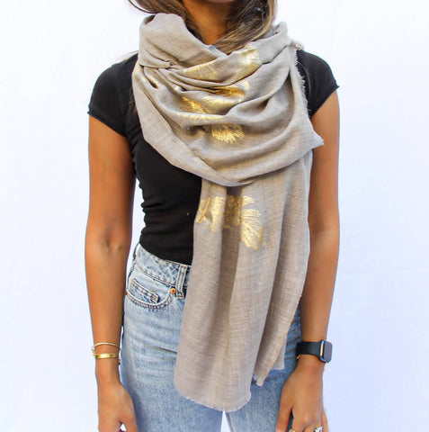Golden Feather Cashmere Scarf