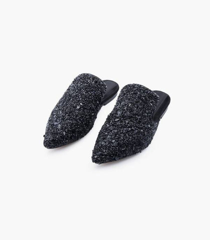 Black Sparkle Slippers