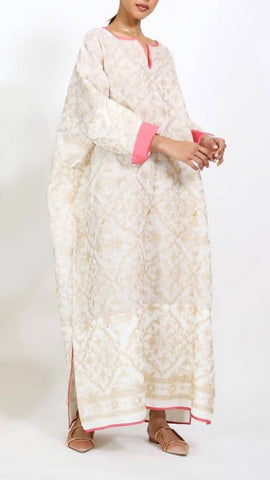 Beige Arabesque Kaftan