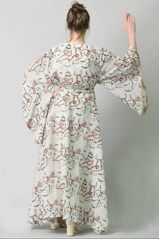 Light Grey Arabic Calligraphy Kaftan