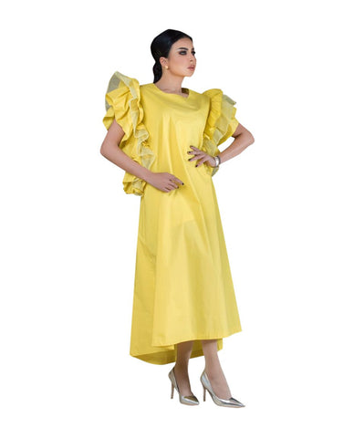 ROZE - Butterfly Dress Long - Yellow