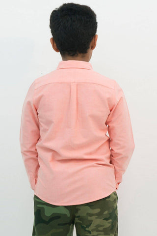 Mendoo Kids Cotton Shirt - Salmon
