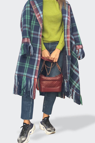 Checkered Wool Blue Coat