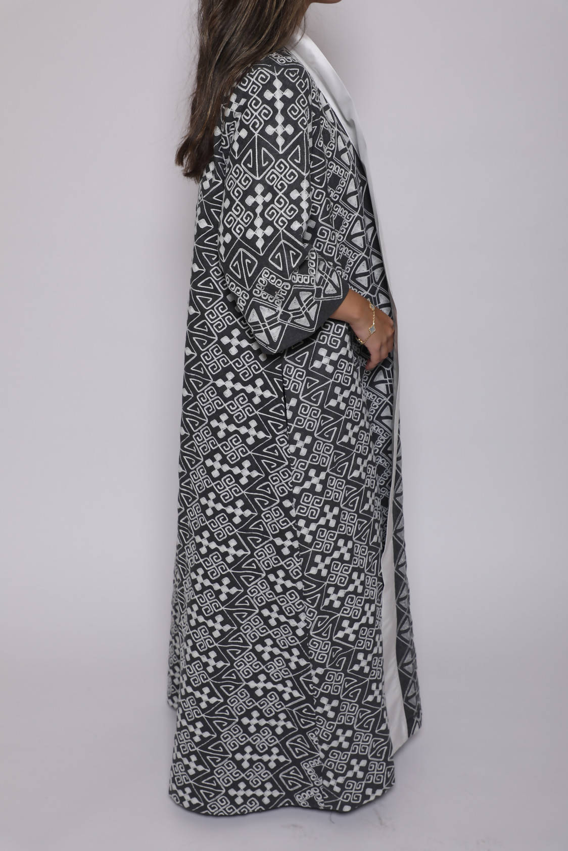 Grey Embroidered Bisht
