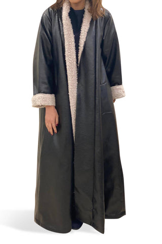 Meem Black Leather Bisht