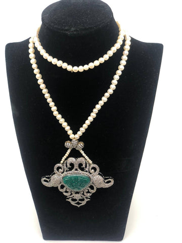 Long Antique Design Necklace with Pearls