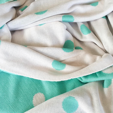 Blanket - Bamboo Cotton Polka Dot Reversible Mint