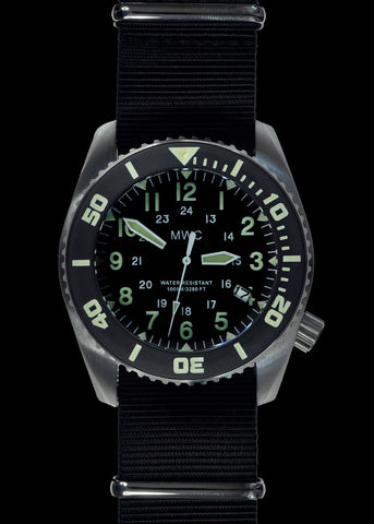 "MWC ""Depthmaster"" 100atm / 3,280ft / 1000m Water Resistant Military Divers Watch in Stainless Steel Case with Helium Valve (Quartz)"