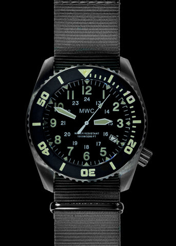 "MWC ""Depthmaster"" 100atm / 3,280ft / 1000m Water Resistant Military Divers Watch in PVD Stainless Steel Case with Helium Valve (Quartz)"