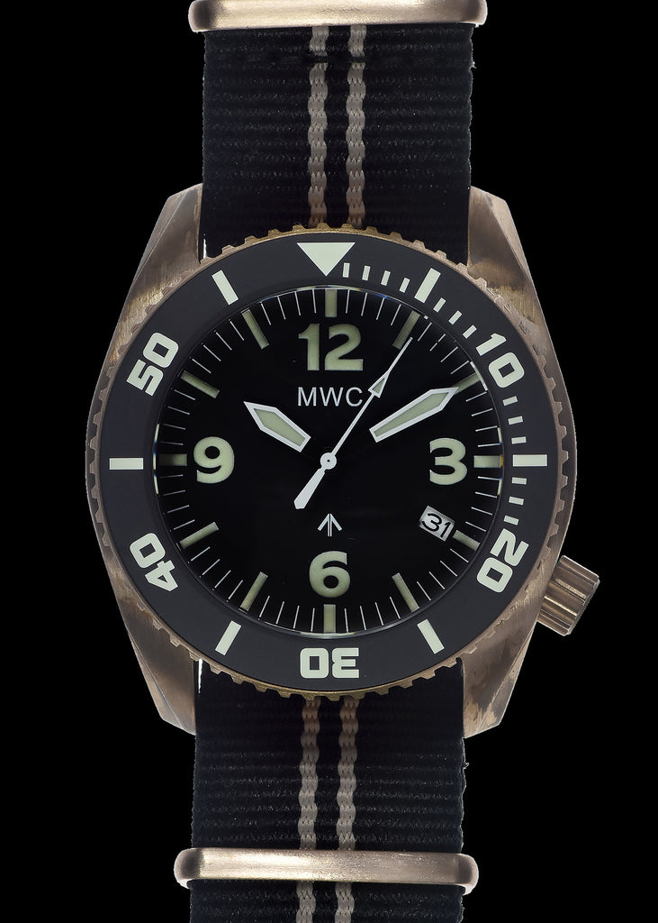 "Limited Edition Bronze MWC ""Depthmaster"" 100atm / 3,280ft / 1000m Water Resistant Military Divers Watch with Helium Valve (Automatic)"