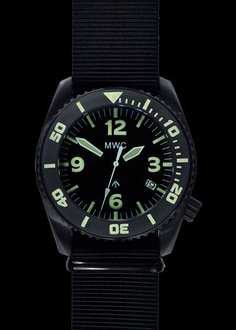 MWC 24 Jewel 300m Automatic Military Divers Watch with Sapphire Crystal and Ceramic Bezel in Black PVD Steel