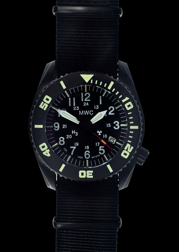 "MWC ""Depthmaster"" 100atm / 3,280ft / 1000m Water Resistant Military Divers Watch in PVD Stainless Steel Case with GTLS and Helium Valve (Automatic)"