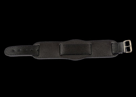 Black 1950s Pattern 18mm Leather Military Watch Strap