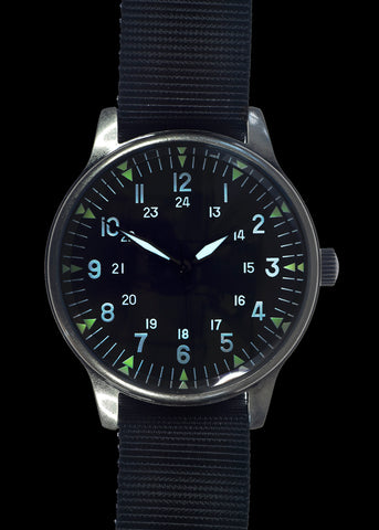 MWC Classic Retro Design Military Watch with U.S Pattern 12/24 Hour Dial in Presentation Box