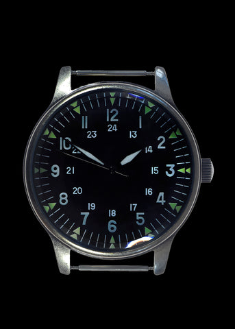 MWC Classic 44mm XL Retro Design Military Watch with U.S Pattern 12/24 Hour Dial