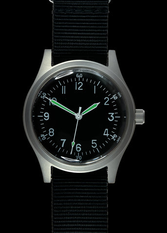 MWC Classic 1960s/70s Pattern Matt Black Vietnam Watch on Matching Webbing Strap