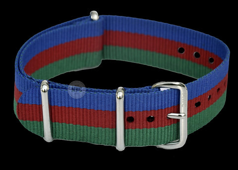 "20mm ""Blue, Red and Green"" NATO Military Watch Strap"
