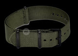 18mm Olive NATO Military Watch Strap with Black PVD fittings