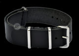 20mm Black Leather NATO Military Watch Strap
