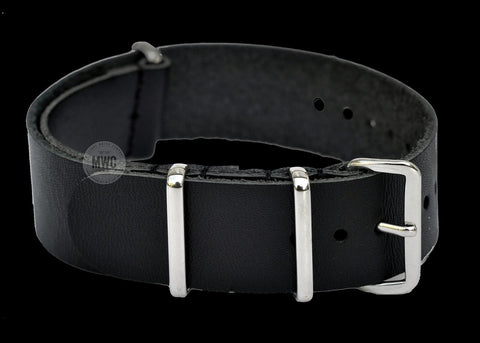18mm Black Leather NATO Military Watch Strap