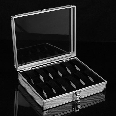 Aluminium Display Case for 12 Watches with Clear Lid