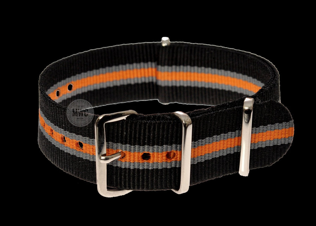 20mm Black, Grey and Tangerine NATO Military Watch Strap