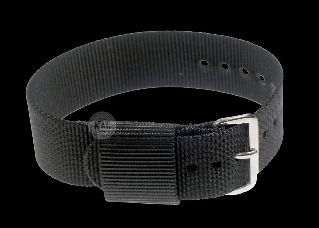 20mm US Pattern Black Military Watch Strap (Chrome Buckles)