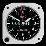 Limited Edition Replica Altimeter Instrument Desk Clock in Aluminium Finish
