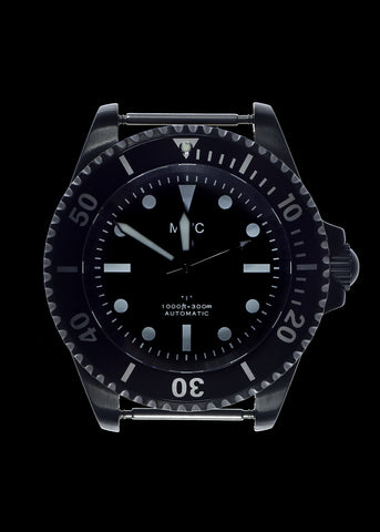 MWC 24 Jewel 1982 Pattern 300m Automatic Military Divers Watch in Black PVD with a Sapphire Crystal on a NATO Webbing Strap (Non Date Version)