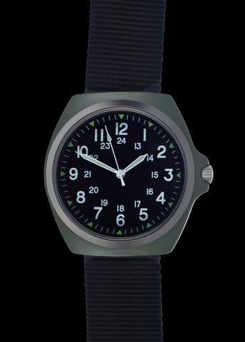 1980s U.S pattern Military Watch  in Olive Drab on a Nylon Webbing Strap