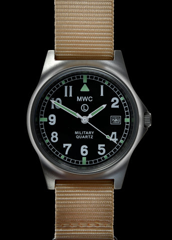 MWC G10 LM Stainless Steel Military Watch (Desert Strap) With Date Window