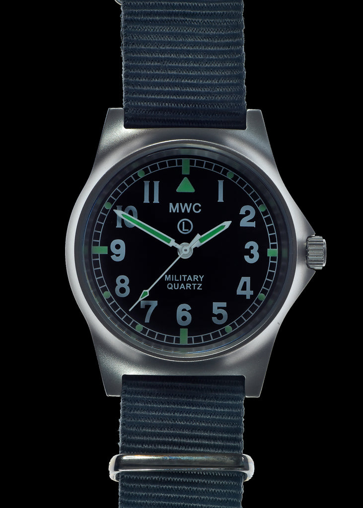 MWC G10 LM Non Date Stainless Steel Military Watch (Grey Strap)